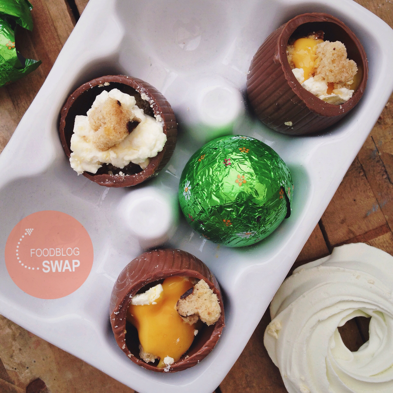 Gevulde chocolade eitjes met advocaat en slagroom