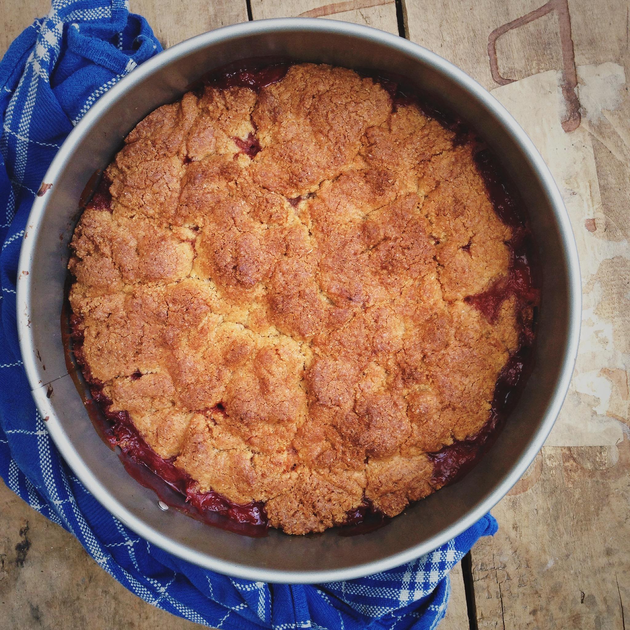 Aardbeien amandel cake