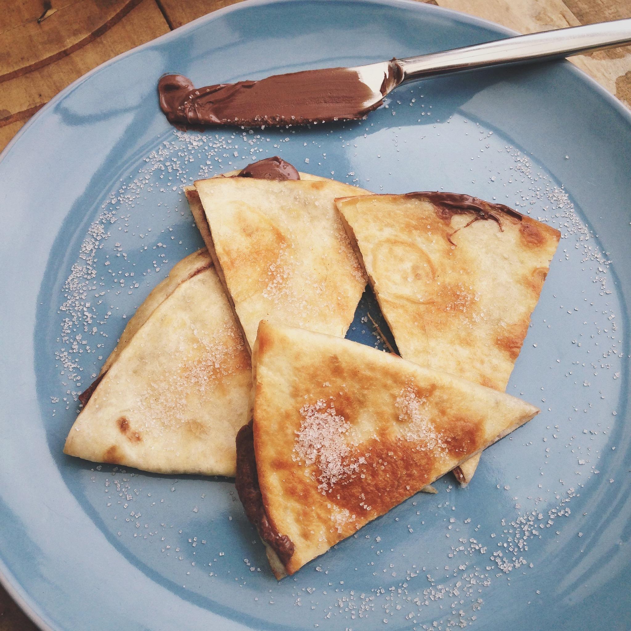 Nutella quesadilla met kaneelsuiker