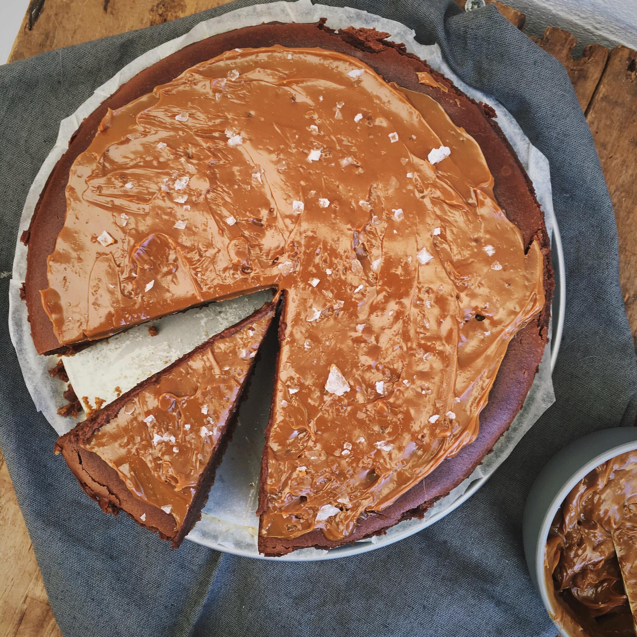 Chocolade cheesecake met gezouten karamel