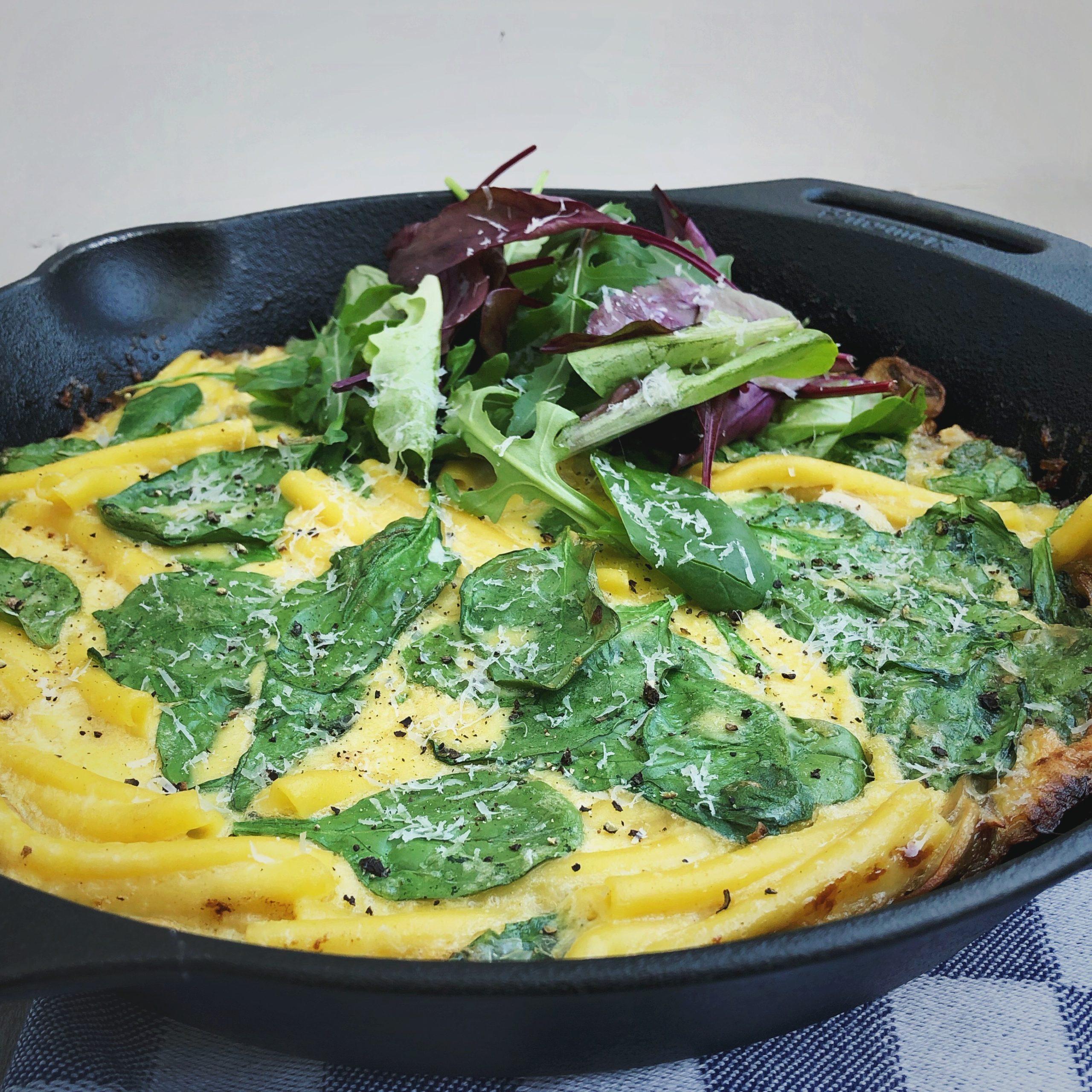 Pasta frittata met lente groen